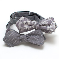 Suiting Check & Grey Floral Reversible Diamond Point
