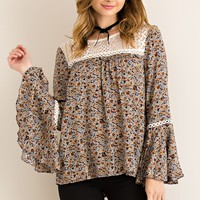 Floral Print Peasant Blouse - Navy