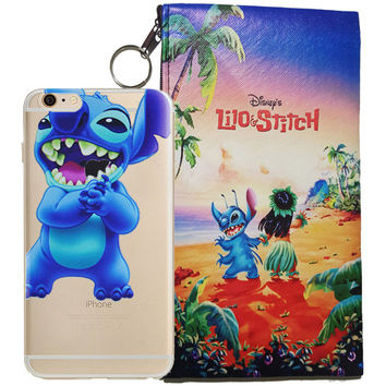Disney's Lilo & Stitch Eating Logo Clear Case For Apple Iphone  7 + Pouch