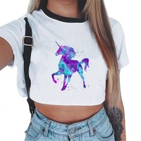 Blue-Purple Unicorn Crop Top