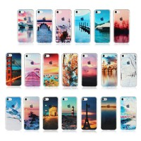 Silicone Case For iPhone 7 8 Plus Transparent Fashion Thin Back Cover Shell Scenery Mountain Sea Fundas For iPhone 8 7 Plus Case