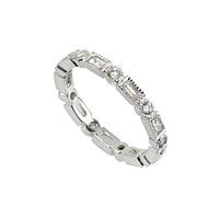 Womens Wedding Band CZ Ring 3mm .925 Sterling Silver