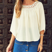 Crochet Trim Woven Peasant Top