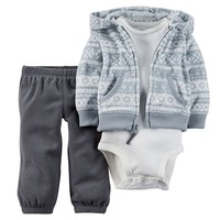 Carter's Fairisle Microfleece Hooded Full-Zip Cardigan Set - Baby Boy, Size: