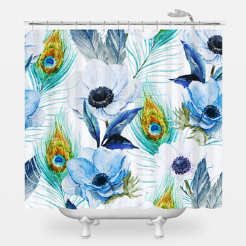 Poppies and Peacocks Shower Curtain