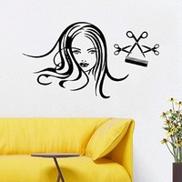 Wall Decor Vinyl Decal Sticker Words Woman Model Girl Hair Salon Scissors Hair Stylist Beauty Salon Fashion Girl Face Bedroom Living Room Home Interior Design Kg902