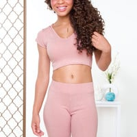Like Fire Ribbed Crop Top - Blush