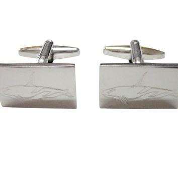 Silver Toned Etched Killer Whale Orca Cufflinks
