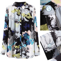 Wash Painting Print Button Down Blouse