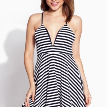Navy Striped Plunging A Line Dress @ Cicihot sexy dresses,sexy dress,prom dress,summer dress,spring dress,prom gowns,teens dresses,sexy party wear,ball dresses