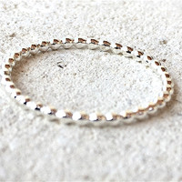 Silver Ring, Simple Silver Ring, Stacking Ring, Beaded Silver Ring