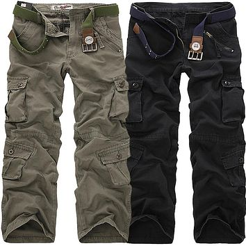 High Quality Men's Cargo Pants Casual Loose Multi Pocket Military