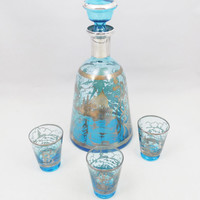 """Blue Glass Silver Overlay Decanter and Glasses, Vintage Venetian Design, 9"""" Tall Decanter"""