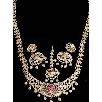 One gram gold plated Long Haram Lotus Design Necklace and Earrings set