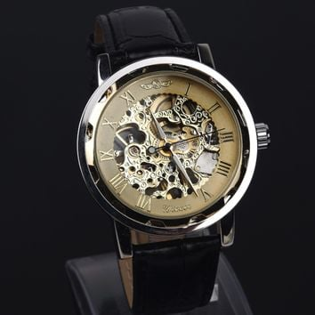 Casual Black Leather Strap Hollow Automatic Mechanical Watch Men
