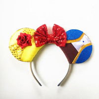 Beauty and the Beast Ears, Belle Ears, Belle Mickey Ears, Disney Inspired Beauty and the Beast Ears, PRE ORDER, Beast Ears, Belle Minnie Ear