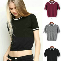 Round-neck Knit Tops Stripes Crop Top [4918706308]