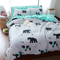 TheFit Paisley Textile Bedding for Adult U1174 Green Bear Duvet Cover Set 100% Cotton, Twin Queen King Set, 3-4 Pieces (Twin)