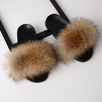 Fox Fur Flat Slipper Slides