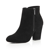 Black zip side heeled ankle boots - ankle boots - shoes / boots - women