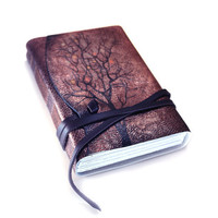 Journal - Magic Forest - Antique Purple and Black Leather Journal - Hand Painted