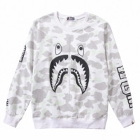 A Bathing Ape in Lukewarm Water 2018 new shark pattern print round neck pullover sweater white