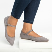 Emma Pointy Toe Grey Flats