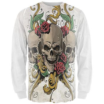 Skulls and Roses Tattoo All Over Adult Long Sleeve T-Shirt