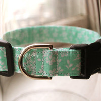 Handmade Dog/Cat Collar - Seafoam Green & White Floral - Adjustable Buckle - Fabric Dog Accessory - Pet Accessories - Breakaway Cat Collar