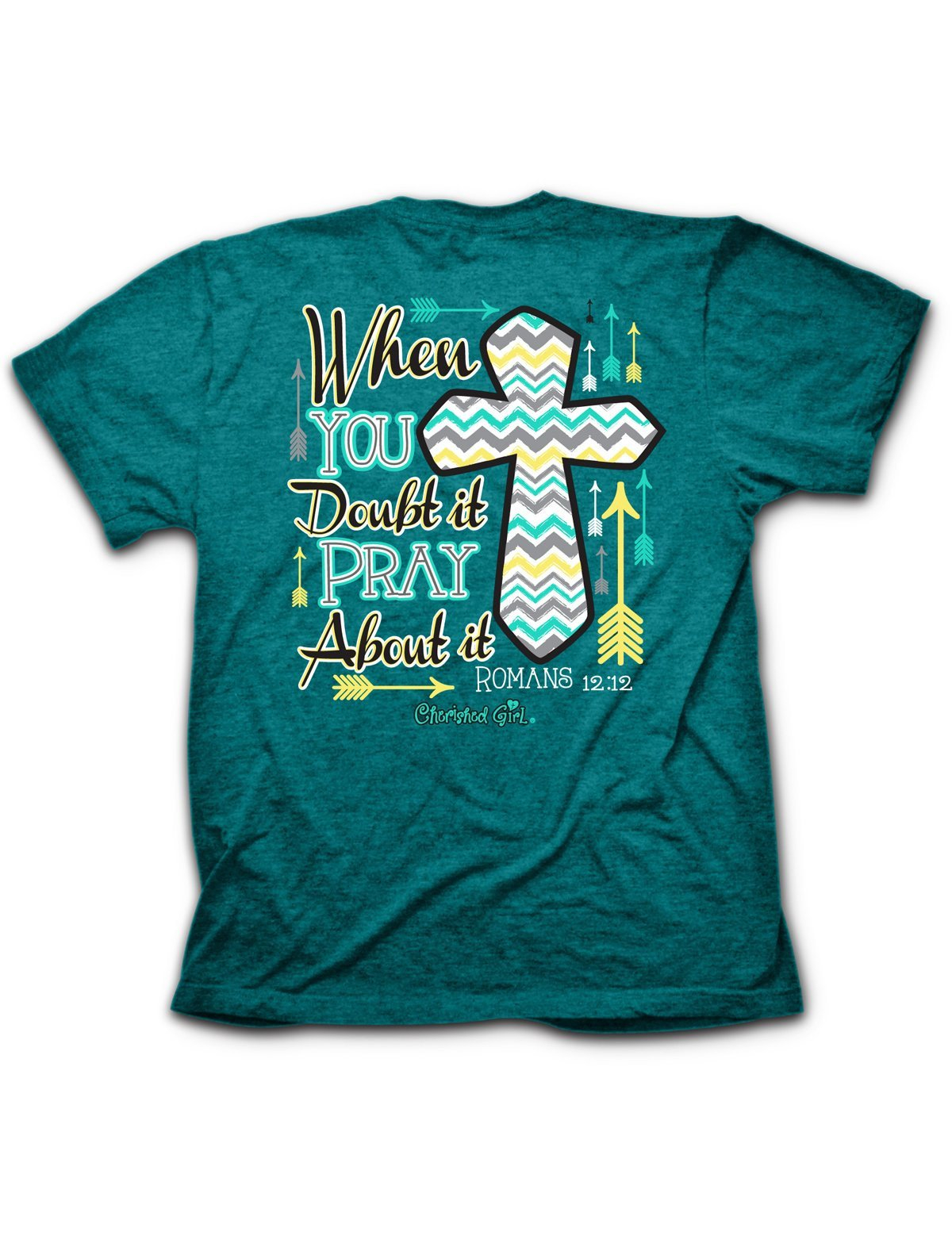 Image of Sale Cherished Girl When in Doubt Pray About it Chevron Cross Arrow Girlie Christian Bright T Shirt