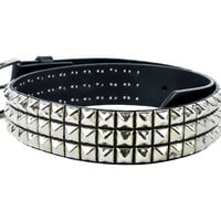 "Silver 3-Row Pyramid Stud Belt Real Leather 1-3/4"" Wide"