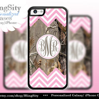 Pink Camo Monogram Iphone 5C case iPhone 5s  iPhone 4 case Ipod 4 5 Touch case Real Tree Chevron Zig Zag  Personalized