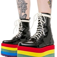 Rainbow Stacked Platform Boots