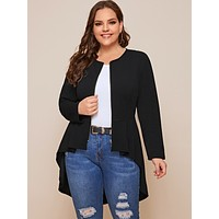 Plus Zip Up Dip Hem Jacket