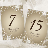 DIY Printable Wedding Table Number Template | Editable MS Word file | 4 x 6 | Instant Download | Winter White Snowflakes Champagne Gold
