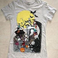 Licensed cool New Disney The Nightmare Before Christmas Movie Group Gray Tee T-Shirt JRS Small