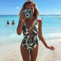 Swimwear Women Bathing Suit Swim Lady Print Bandage Swimsuit One Piece Swimsuit
