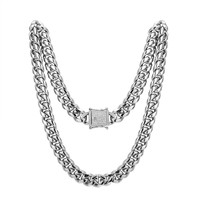 """Stainless Steel 14mm Miami Cuban Link 14k White Gold Finish Chain 30"""" Designer Iced out new Lock"""