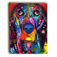 Basset Hound by Artist Dean Russo Wood Sign