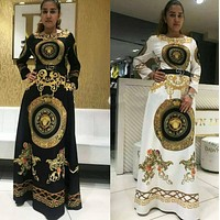Versace Fashion Women Casual Print Long Sleeve Dress