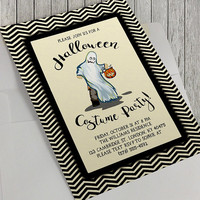 Printable Halloween Costume Party Invitation, 5x7 Inches,Halloween Bash,Halloween Party,Halloween Spooktacular,Ghost Costume,Happy Halloween
