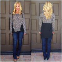 Paltrow Chiffon & Knit Top - BLACK & CHARCOAL GREY