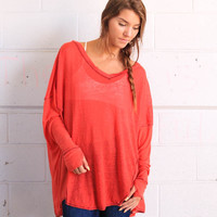 Free People Never Give Up Tee - Red