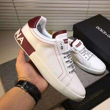 Dolce&Gabbana D&G White Red Sneakers - Best Deal Online