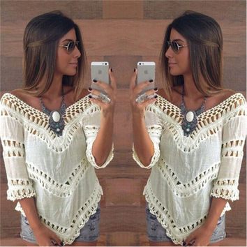 2015  High Quality Women Summer Bohemian V-neck Lace Crochet Hollow Blouses Top Shirt Tropical Holiday Beach Cover Ups Wear Clothing = 1667701828