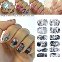K5733 2017 New Water Transfer Nail Foil Sticker Art Sexy Light Black Gray Marble Stone Rock Nail Wraps Sticker Manicure Decals