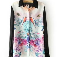 Bird and Flower Print Chiffon Blouse Semi-sheer Sleeve and Back