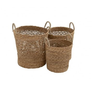 Set of 3 Tall Seagrass Baskets