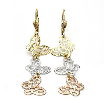 Gold Layered 5.114.013 Long Earring, Butterfly Design, Diamond Cutting Finish, Tri Tone