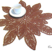 Crochet Brown Doily, Large Doily, Table decorations, Round Doily, Centrino Marrone (Cod. 1)